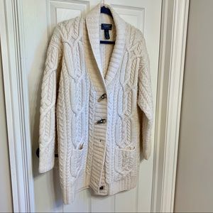 EXCLUSIVE hand-knit Ralph Lauren cream cardigan
